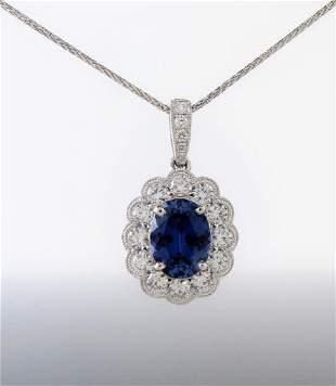 14K White Gold Sapphire, Diamond Necklace