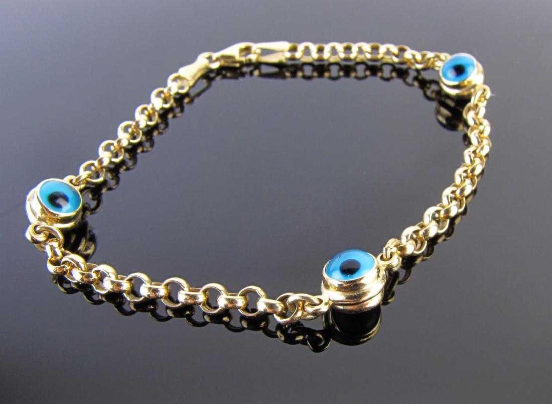 19565bf6bbddb 14K Yellow Gold Evil Eye Bracelet