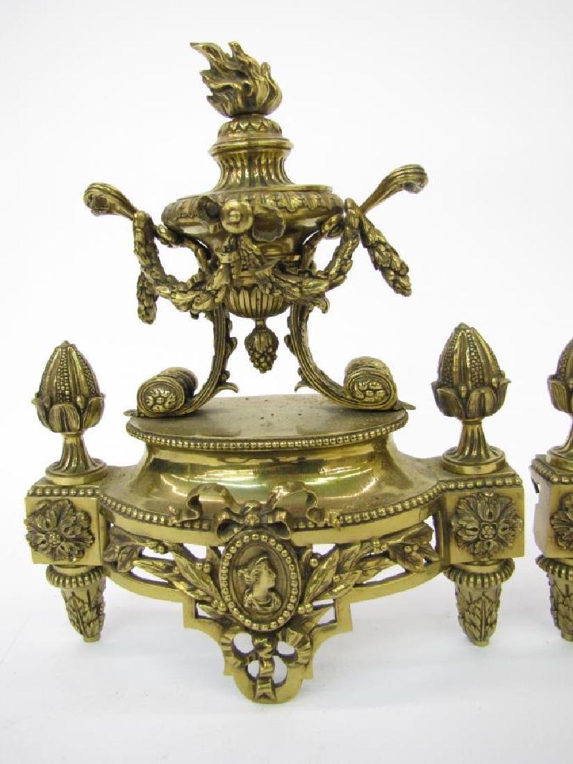 Pair of Brass Decorative Andirons - 2