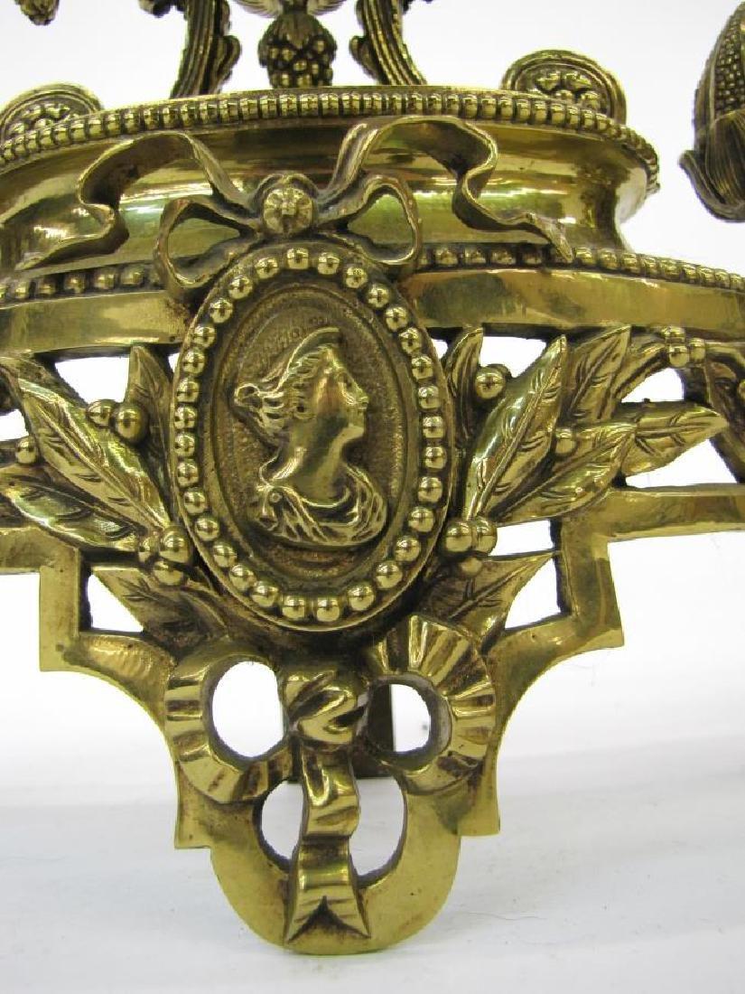 Pair of Brass Decorative Andirons - 3