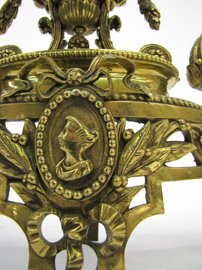 Pair of Brass Decorative Andirons - 4