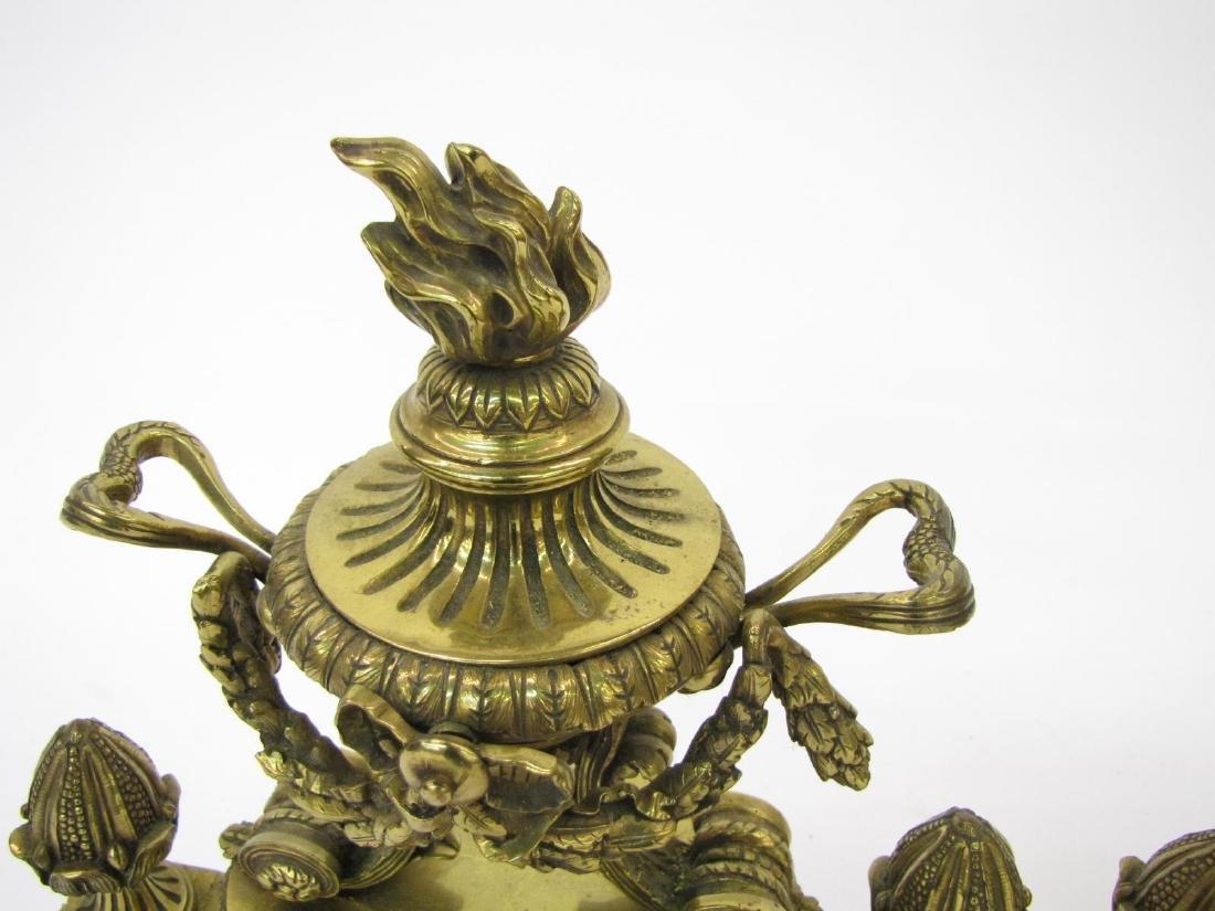 Pair of Brass Decorative Andirons - 5
