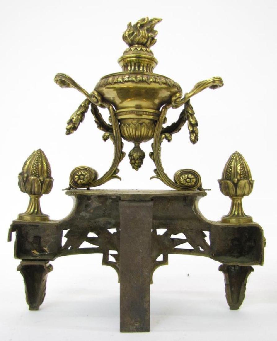 Pair of Brass Decorative Andirons - 6