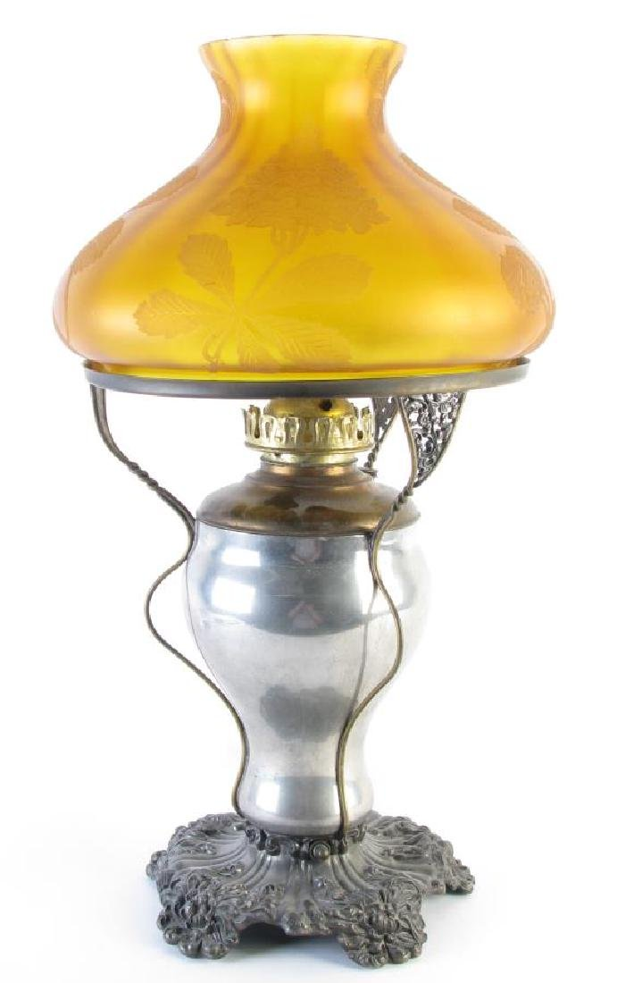 Art Nouveau Table Lamp with Amber Shade