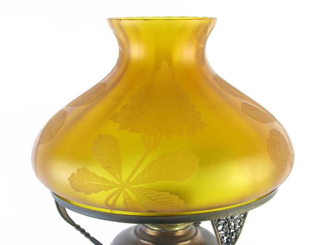 Art Nouveau Table Lamp with Amber Shade - 3