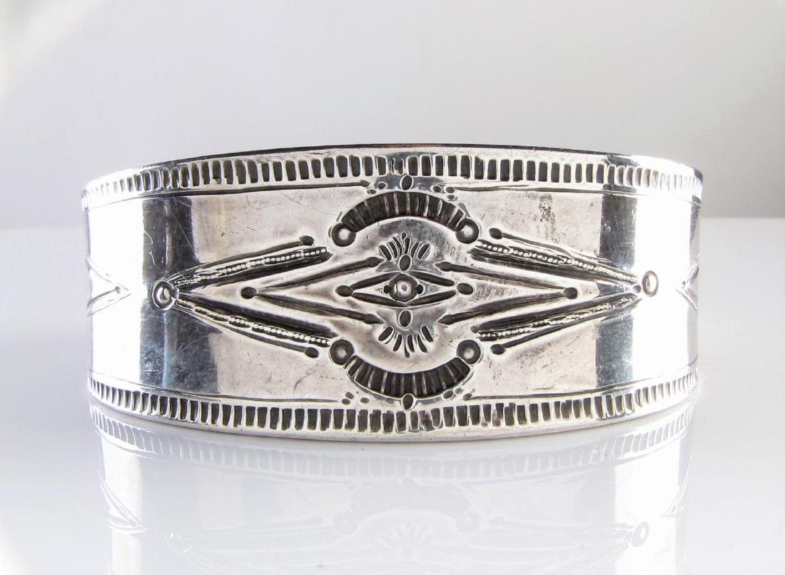 A Heavy Sterling Silver Etched Cuff