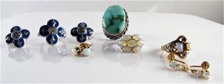 Group of Opal Turquoise Diamond Jewelry