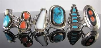 Six Vintage Southwest Rings