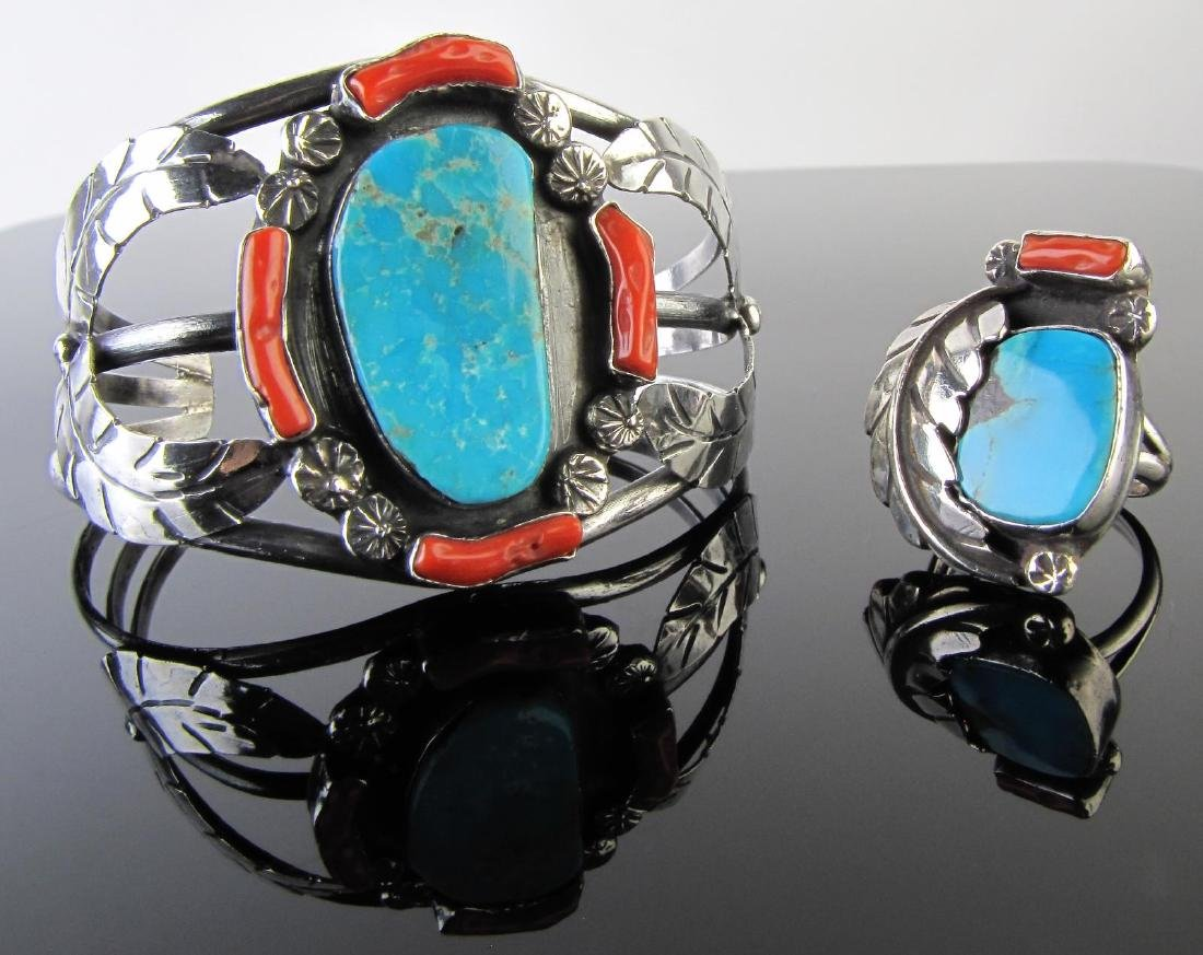Navajo Sterling Turquoise, Red Coral Bangle/Ring
