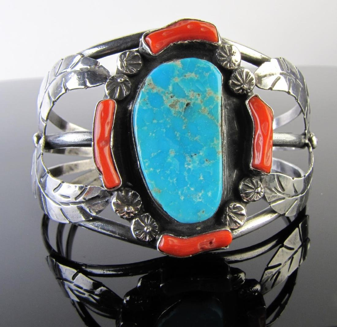 Navajo Sterling Turquoise, Red Coral Bangle/Ring - 2