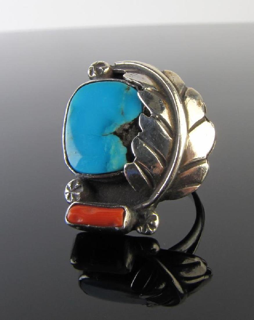 Navajo Sterling Turquoise, Red Coral Bangle/Ring - 3