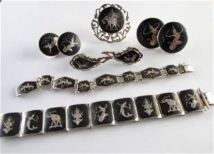 SYKH Niello Sterling Silver Siamese Jewelry