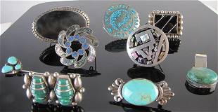 Nine Southwest Pins Brooches Slide Taxco