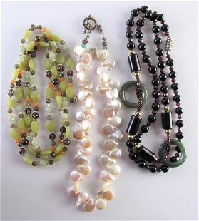 Three Pearl Jade and Bead Necklaces