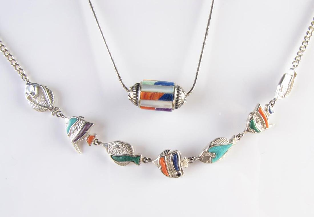 Sterling Silver Fish and Barrel Necklaces