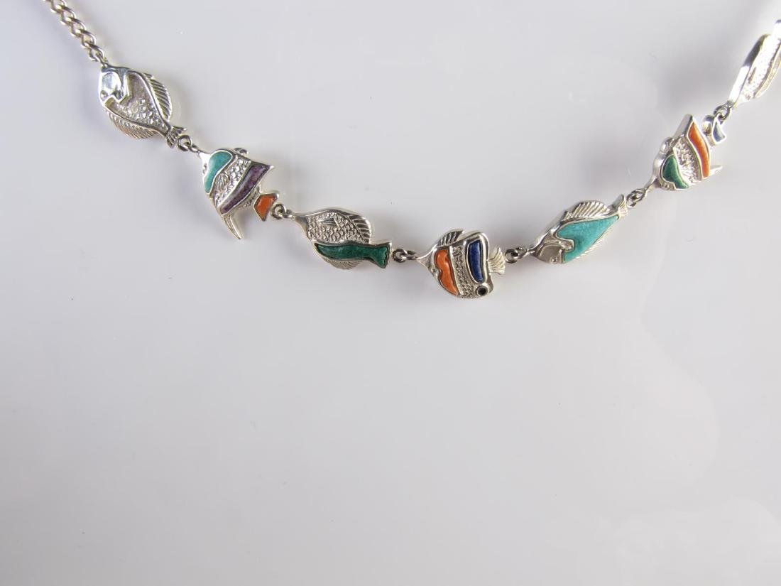 Sterling Silver Fish and Barrel Necklaces - 2