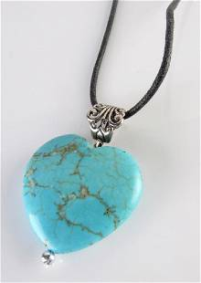 Heart Shaped Turquoise Pendant Cord DY