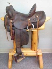 Antique Western Saddle, Miles City Coggshall