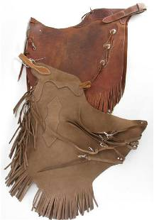 Two Pair of Signed Leather Batwing Chaps
