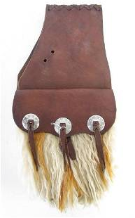 Pair of Leather and Angora Western Saddle Bags
