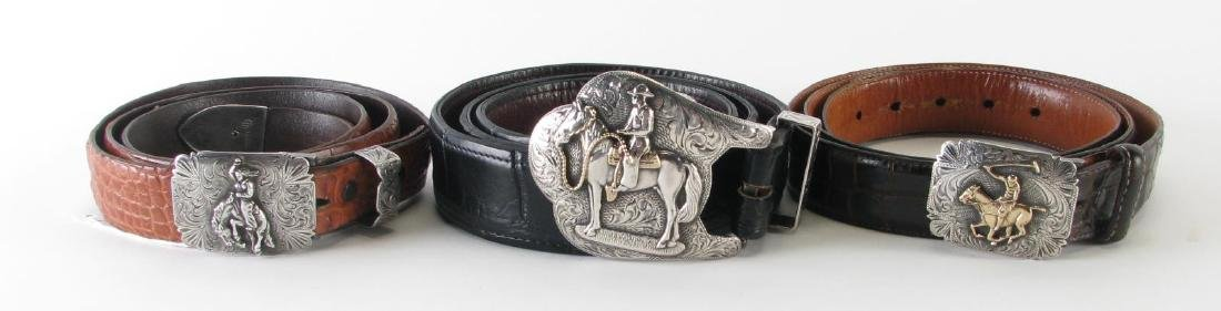 Three Alligator Belts with Sterling Buckles