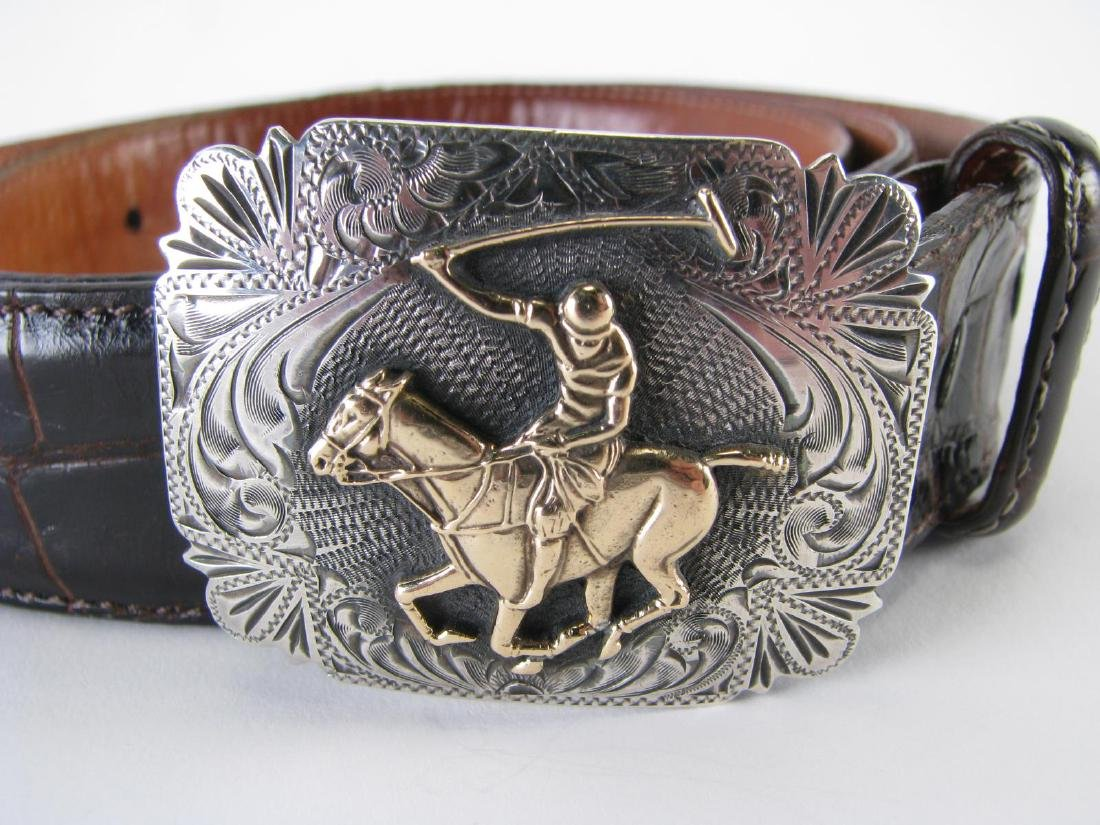 Three Alligator Belts with Sterling Buckles - 3