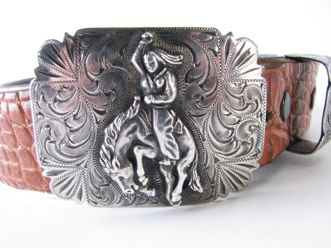 Three Alligator Belts with Sterling Buckles - 4