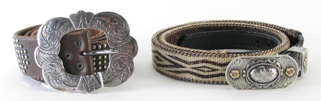 Two Leather Belts with Sterling Buckles