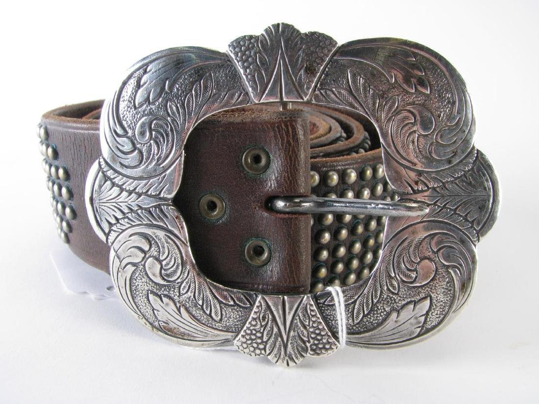 Two Leather Belts with Sterling Buckles - 2