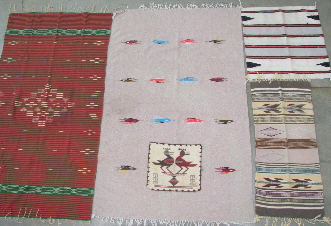 Group of Handmade Area Rugs and Mat