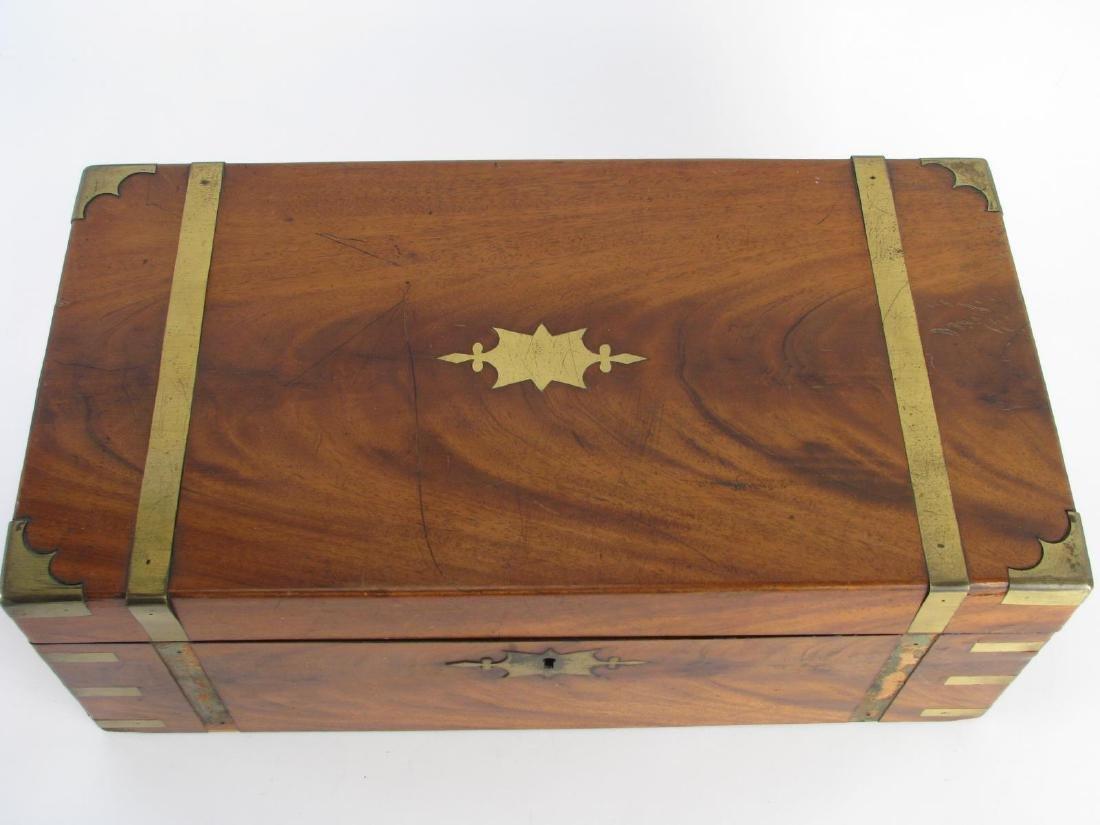 Antique Wood and Brass Lap Desk - 2