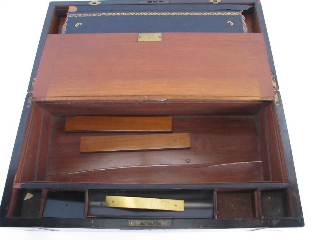 Antique Wood and Brass Lap Desk - 4