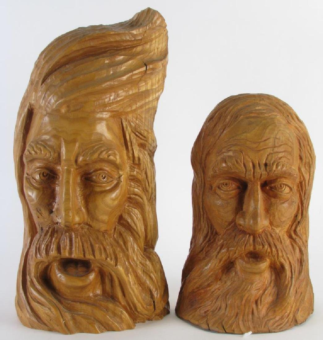 Two Wood Carved Busts of Woodsmen