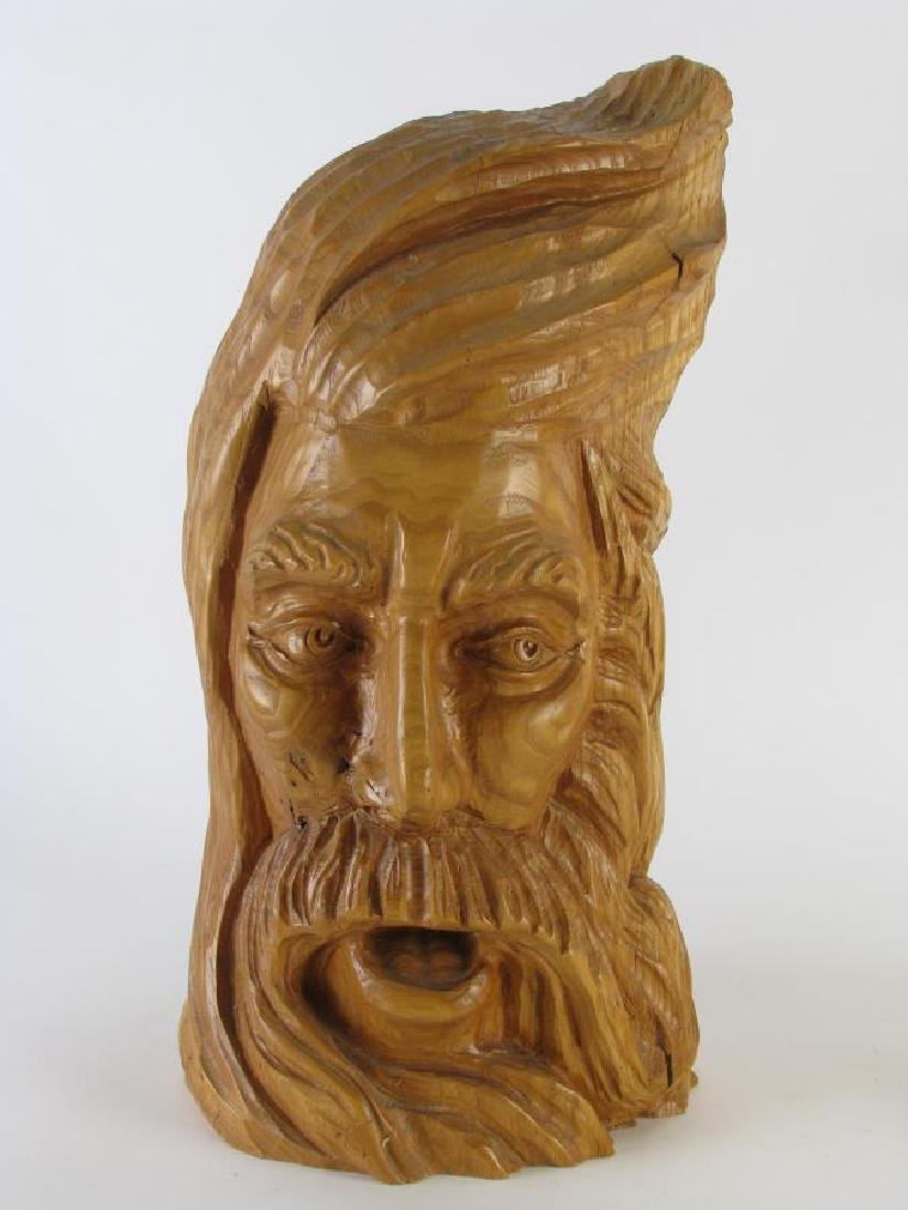 Two Wood Carved Busts of Woodsmen - 2
