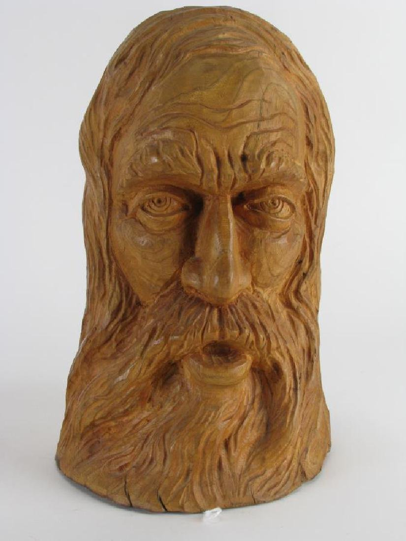 Two Wood Carved Busts of Woodsmen - 3