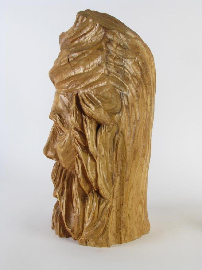 Two Wood Carved Busts of Woodsmen - 4