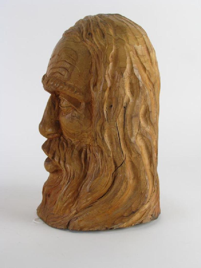 Two Wood Carved Busts of Woodsmen - 5