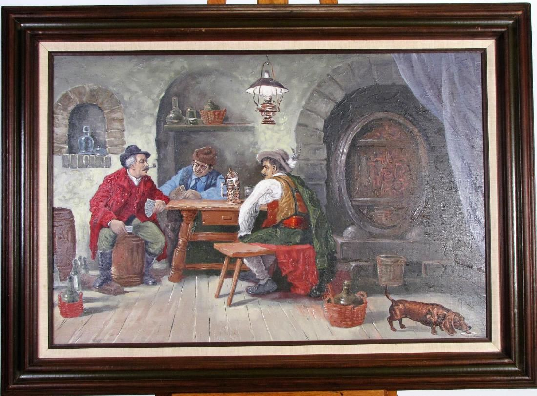 Szanto Oszkar 24x36 O/C Tavern Genre Scene
