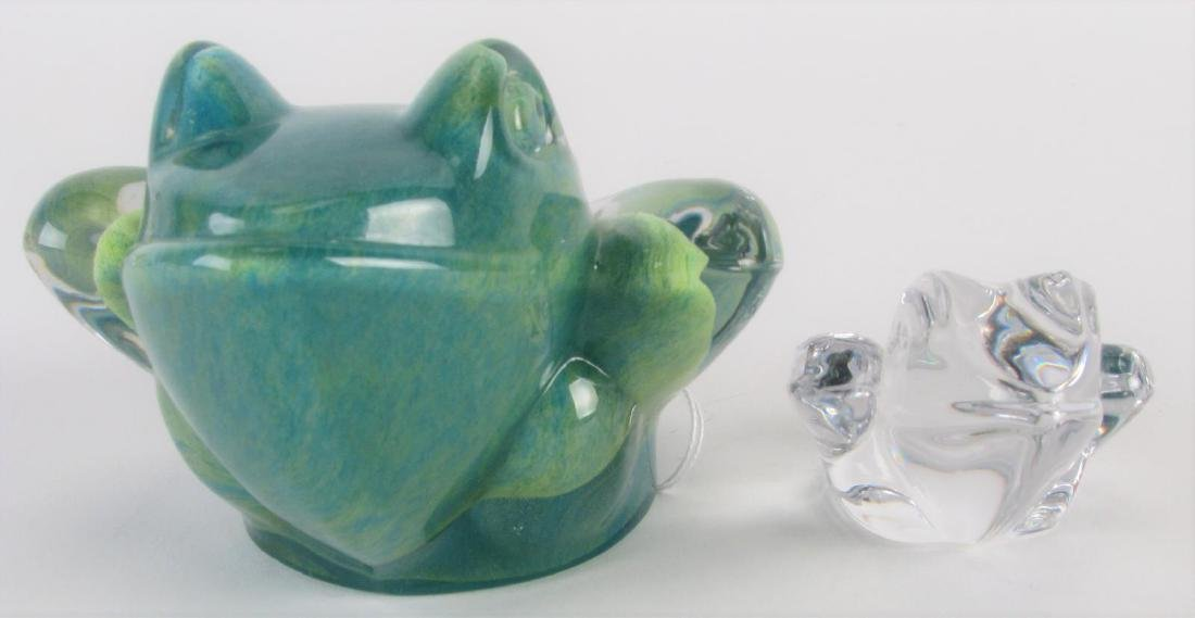 Two Daum France Crystal Frog Paperweights
