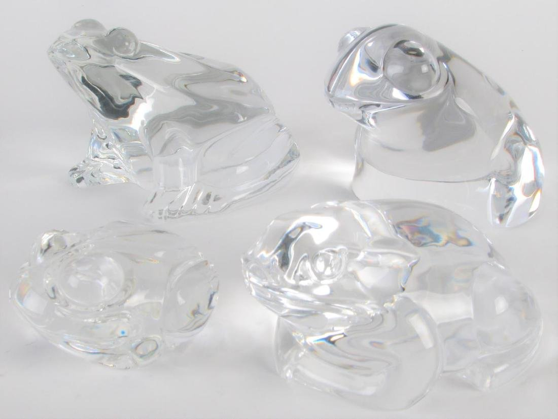 Group of Signed Crystal Frog Paperweights