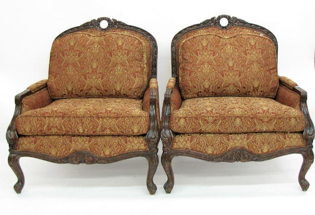 Pair of Decorator Upholstered Arm Chairs