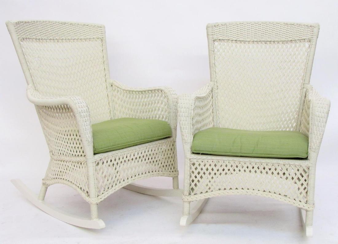 Pair of Lloyd/Flanders White Wicker Rocking Chairs