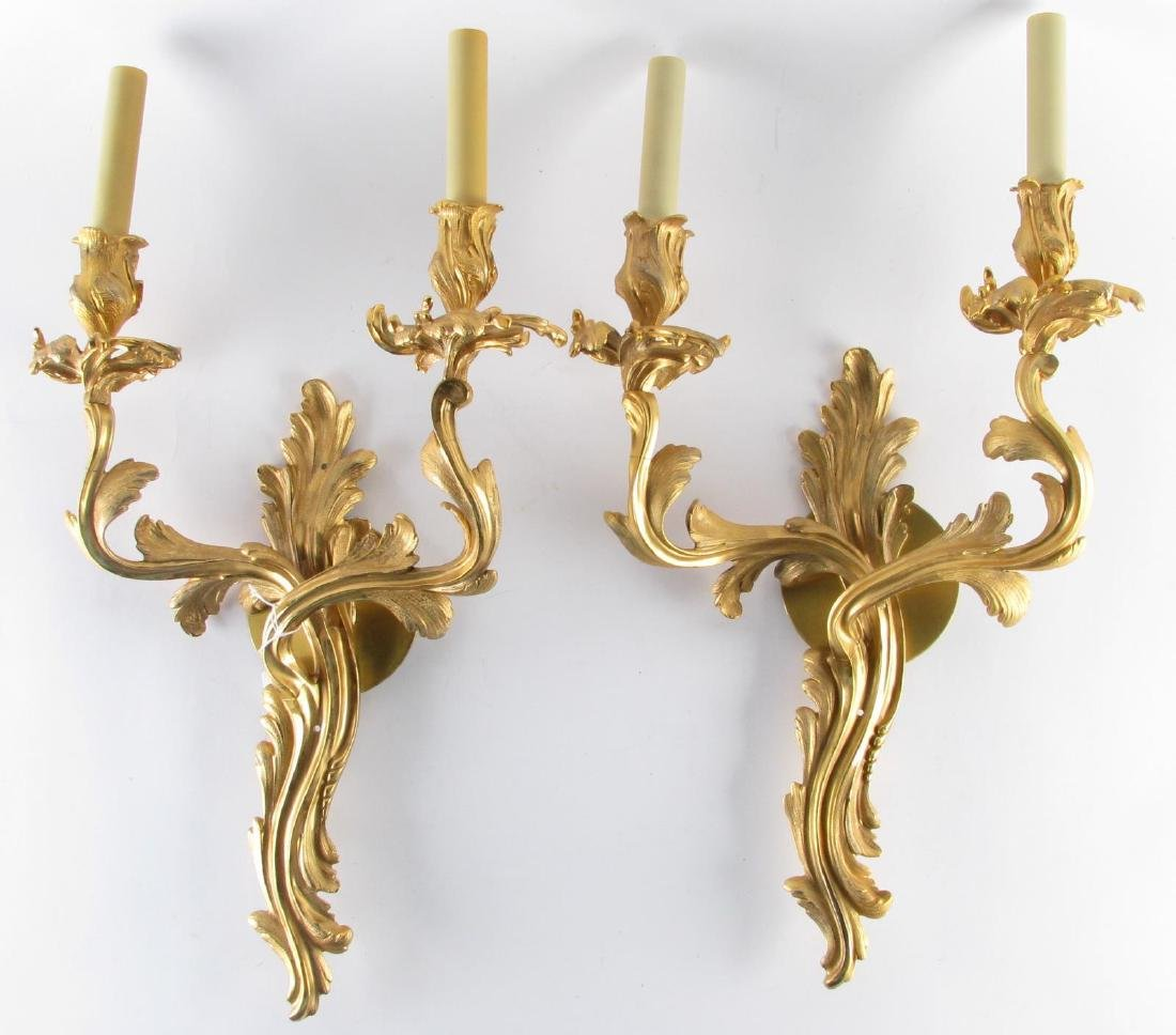 Pair of Louis XV Style Bronze Wall Sconces