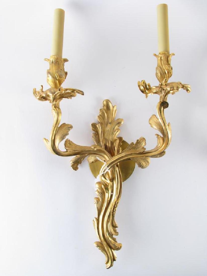 Pair of Louis XV Style Bronze Wall Sconces - 2