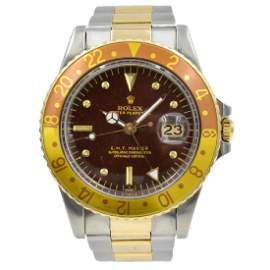 Preowned-Rolex Root Beer SS/18K Yellow Gold GMT Ci