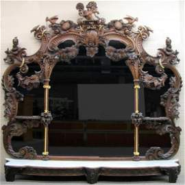 Monumental Carved Over-Mantle Mirror