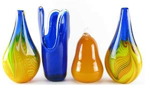 Four Art Glass Items Vases Figure