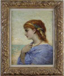 "Jean Aubert 17.5x14 O/C ""Reverie by the Sea"""