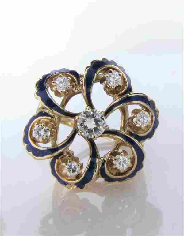 14K Yellow Gold Enameled Diamond Ring