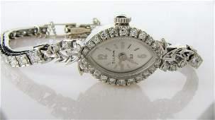 14K White Gold Ladys Bulova Diamond Watch